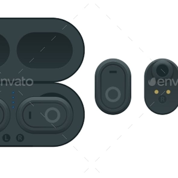 Black Wireless Earphones and Case Isolated on a
