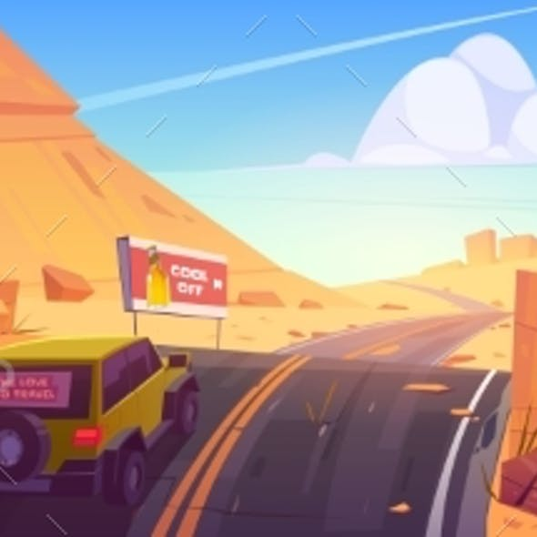 Car Driving Road in Desert or Canyon Landscape