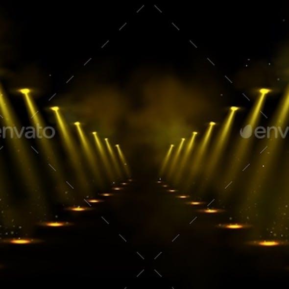 Corridor or Gallery Illuminated By Spotlights