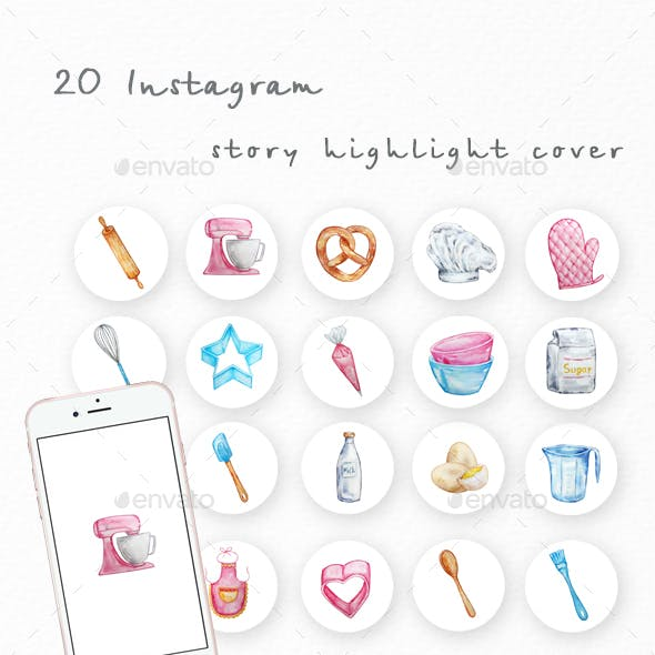 Watercolor baking instagram highlight icons