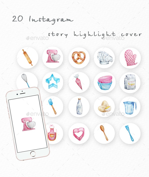 Watercolor baking instagram highlight icons - Media Icons