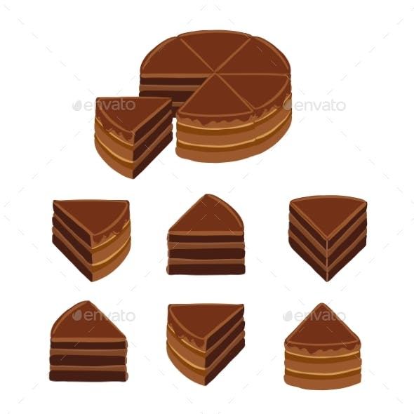 Pieces of Chocolate Cake. Infographic Diagram Set