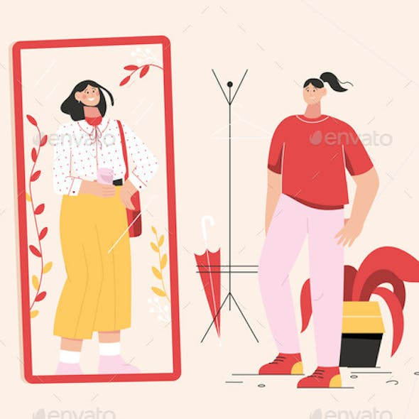Woman Changes Clothes Standing Front Mirror