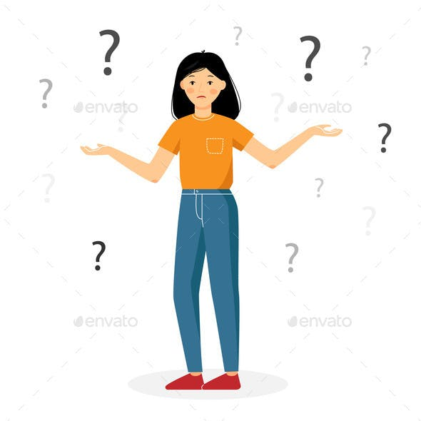 Girl Confused Question Mark Isolated