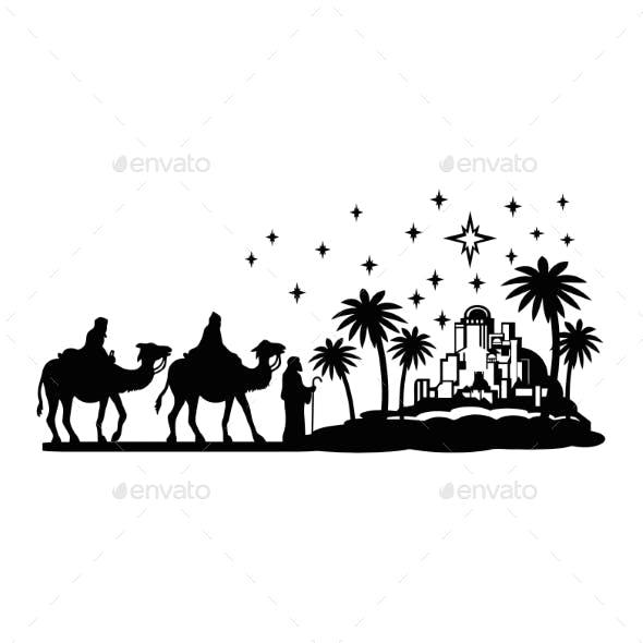 Holy Night Silhouette - Nativity Scene of Baby