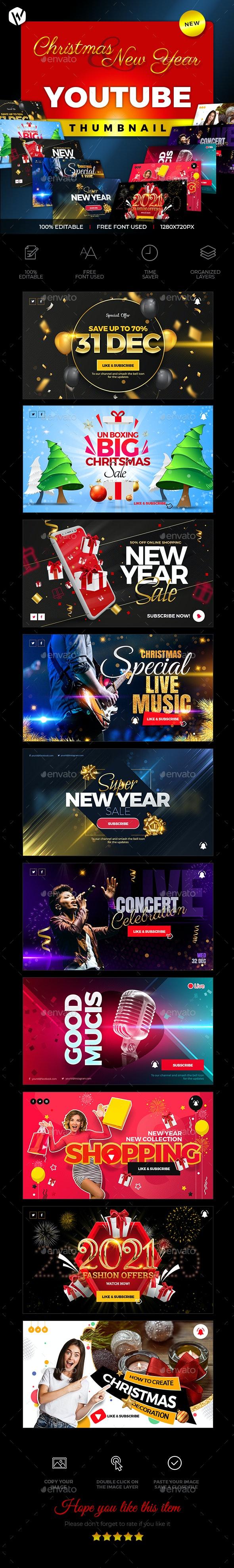 Youtube Thumbnail - Christmas & New year - Social Media Web Elements