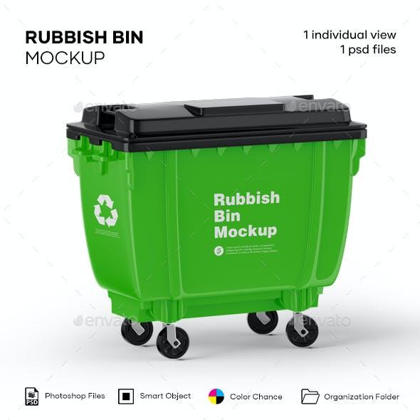 Plastic Glossy Rubbish Bin Mockup