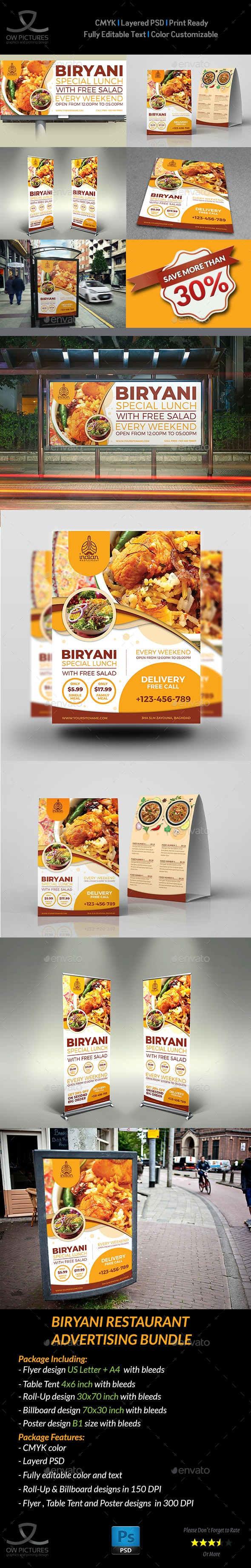 Biryani Restaurant Advertising Bundle - Signage Print Templates