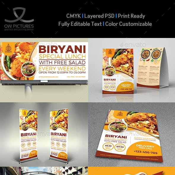 Biryani Restaurant Advertising Bundle