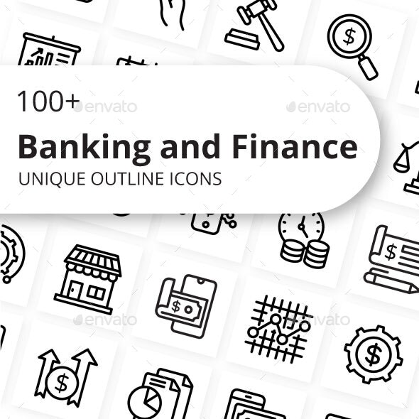 Banking and Finance Outline Icons - Business Icons