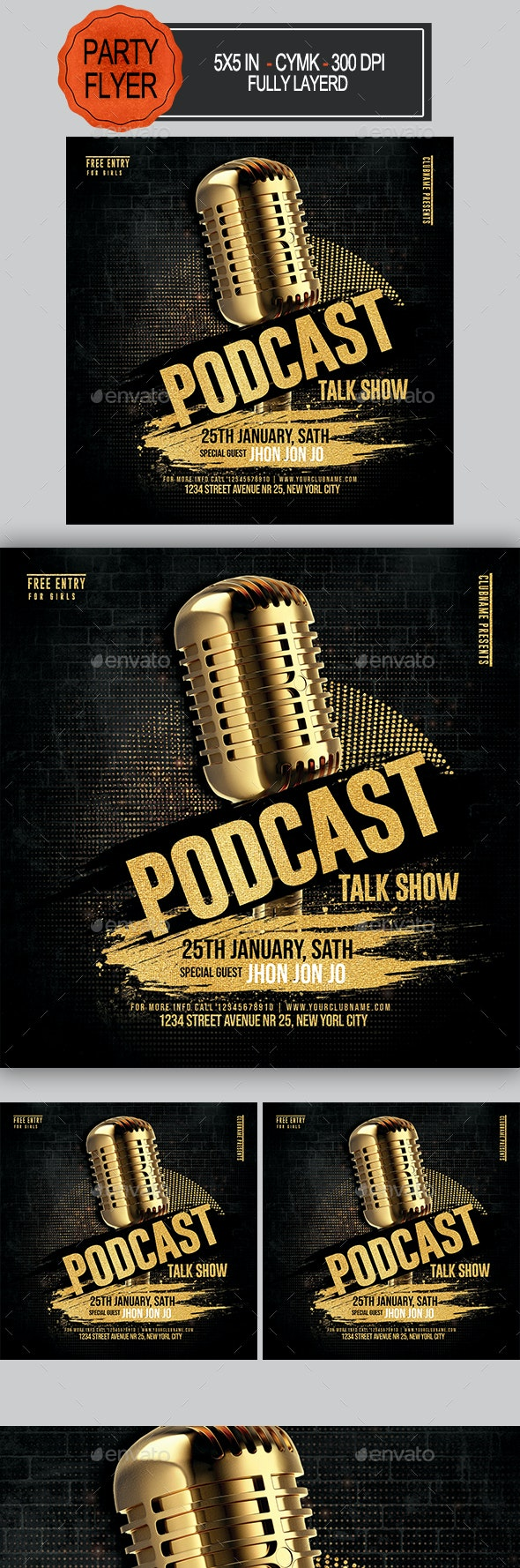 Talk Show Podcast Flyer - Clubs & Parties Events