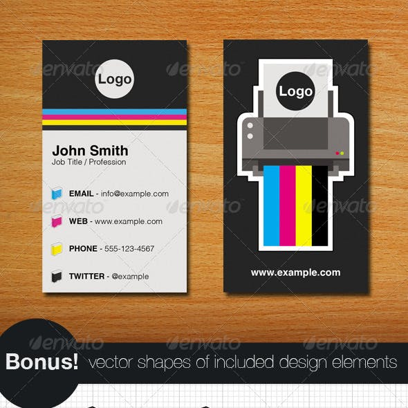 Printer Business Card and Vectors