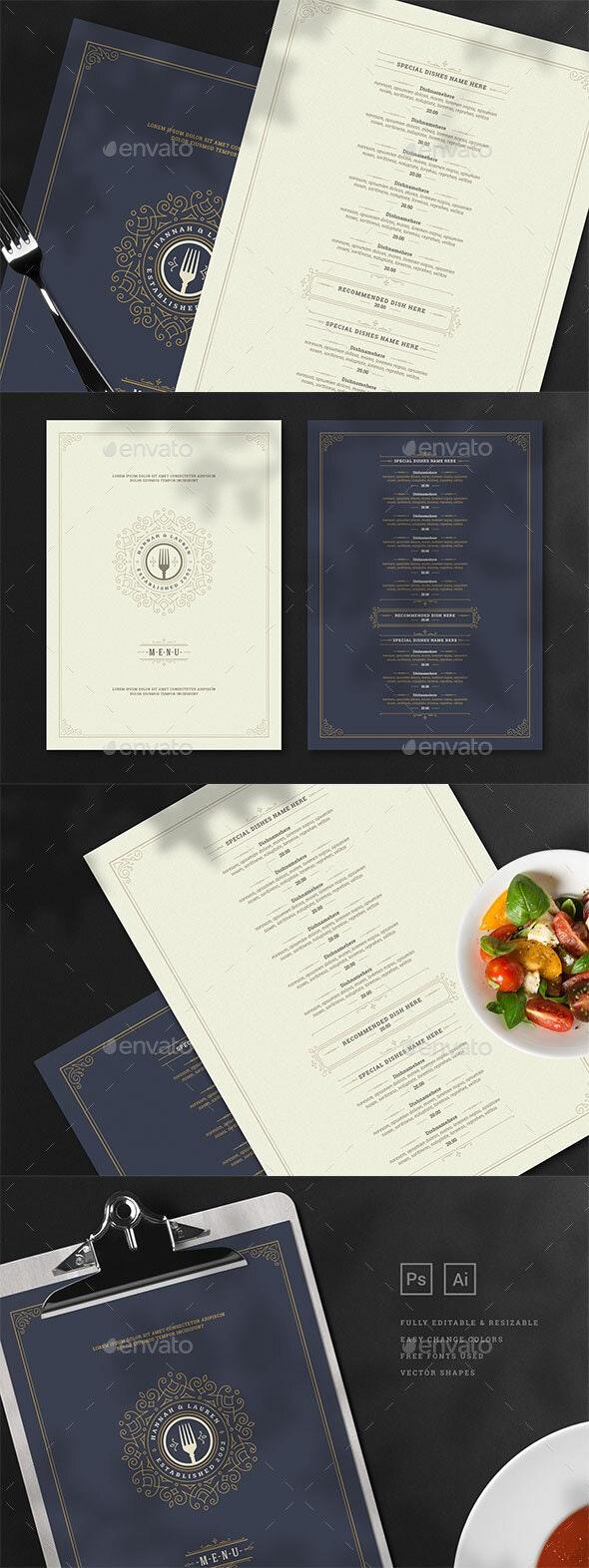 Restaurant Menu Template and Logo - Food Menus Print Templates
