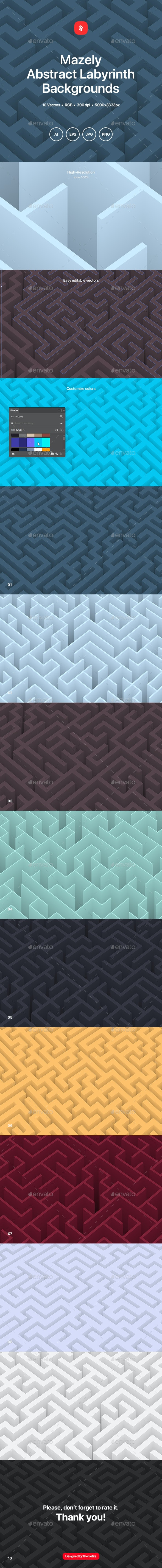 Mazely - Abstract Labyrinth Background Set - Abstract Backgrounds