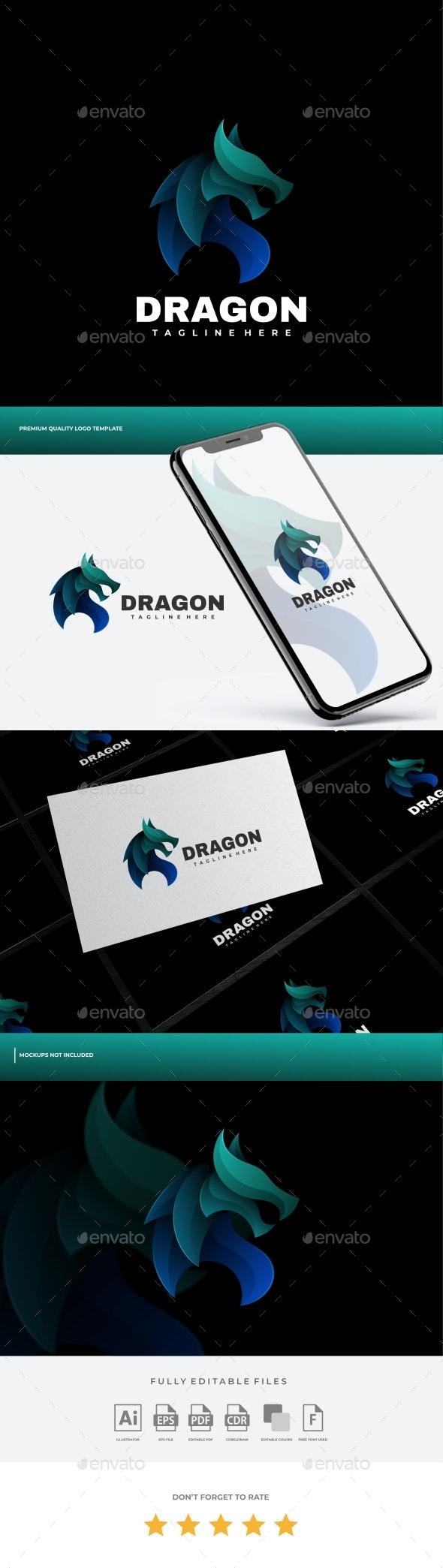 Dragon Gradient Logo Template - Animals Logo Templates
