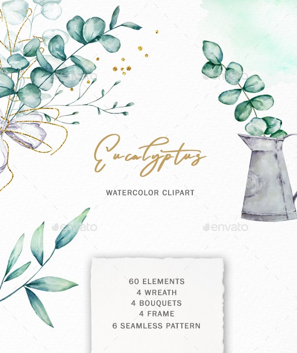 Watercolor Green Gold Eucalyptus Clipart - Illustrations Graphics