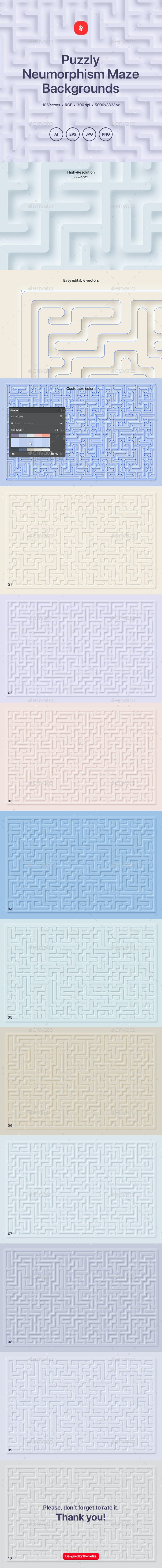 Puzzly - Neumorphism Maze Backgrounds - Abstract Backgrounds