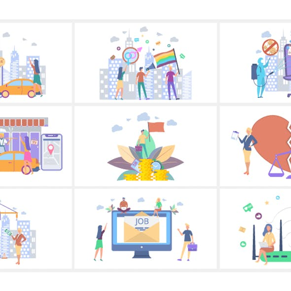 Business and start up concepts flat people illustrations