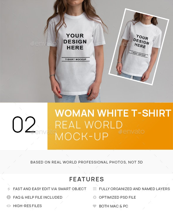 Woman With White T-shirt Mockups - T-shirts Apparel
