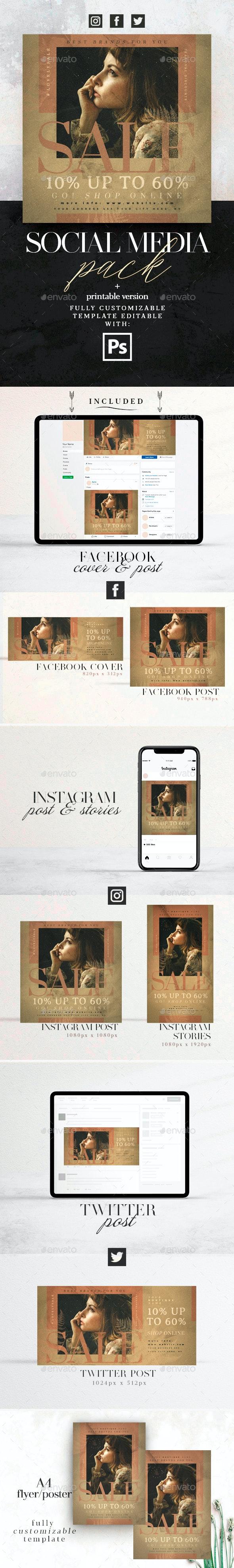 Lovely Sale - Social Media Pack + Flyer Template - Social Media Web Elements