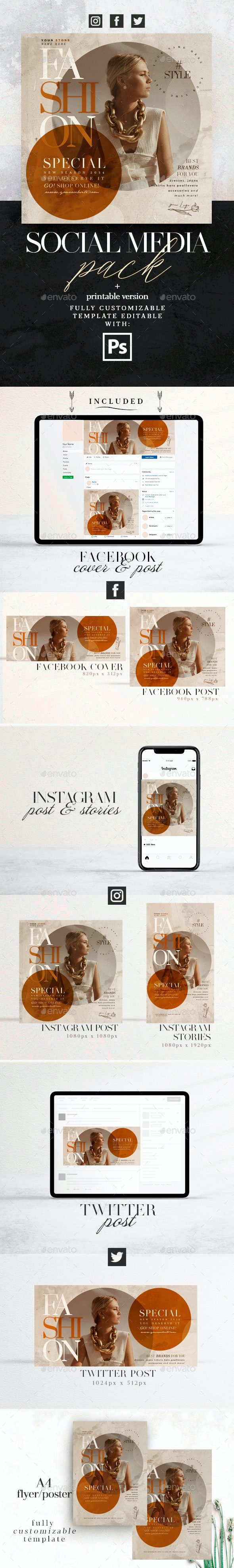 Fashion Special - Social Media Pack + Flyer Template - Social Media Web Elements