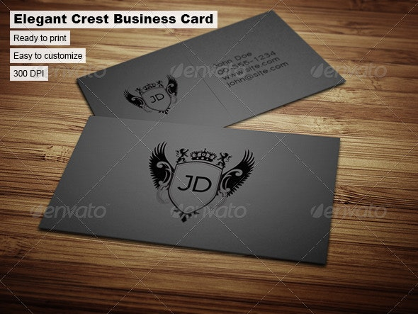 Elegant Crest Business Card - Corporate Business Cards