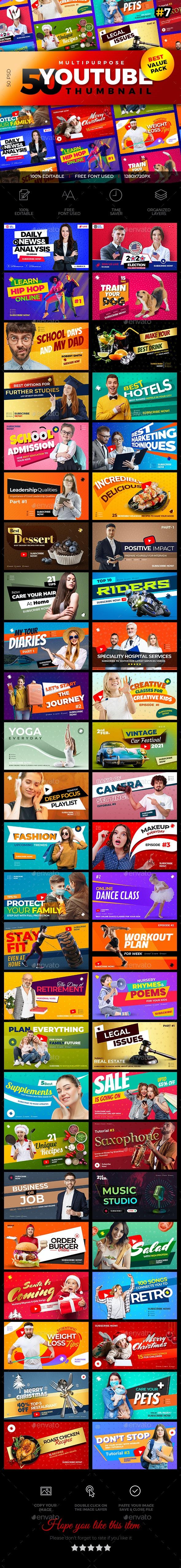 50 Youtube Thumbnail-V7 - Social Media Web Elements