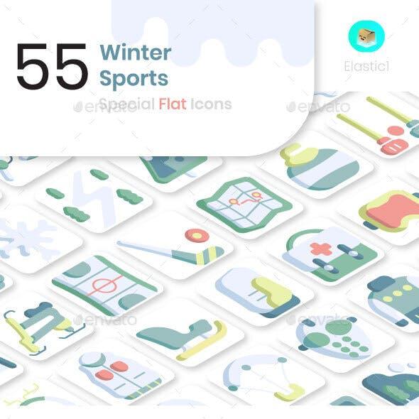 Winter Sport Flat Icons