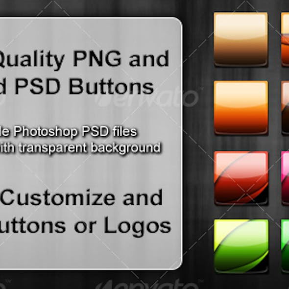 13 PSD and PNG Buttons/Icons Pack (VECTOR based)