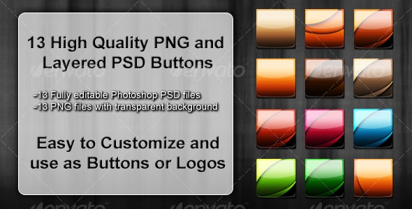 13 PSD and PNG Buttons/Icons Pack (VECTOR based) - Buttons Web Elements