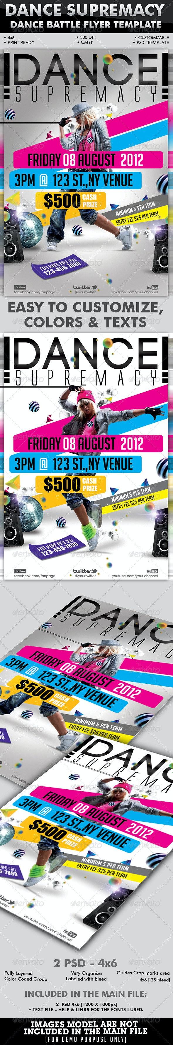 Dance Supremacy/Dance Battle Flyer Template - Clubs & Parties Events