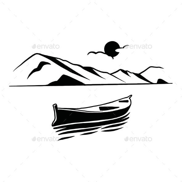 Boat Lake Chalet Mountain Landscape - Miscellaneous Vectors