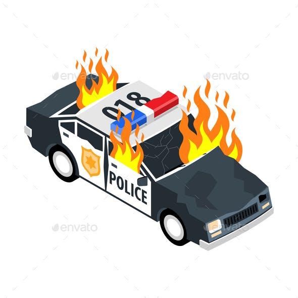 Burning Car Illustration