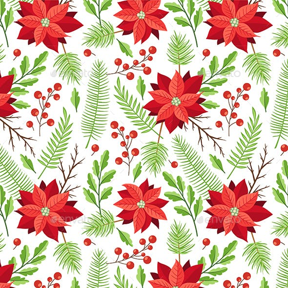 Pattern with Winter Evergreen Plants