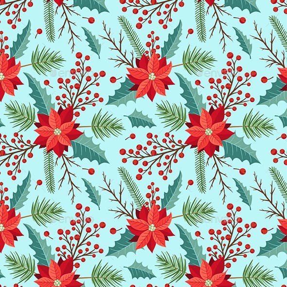 Seamless Pattern with Winter Evergreen Plants