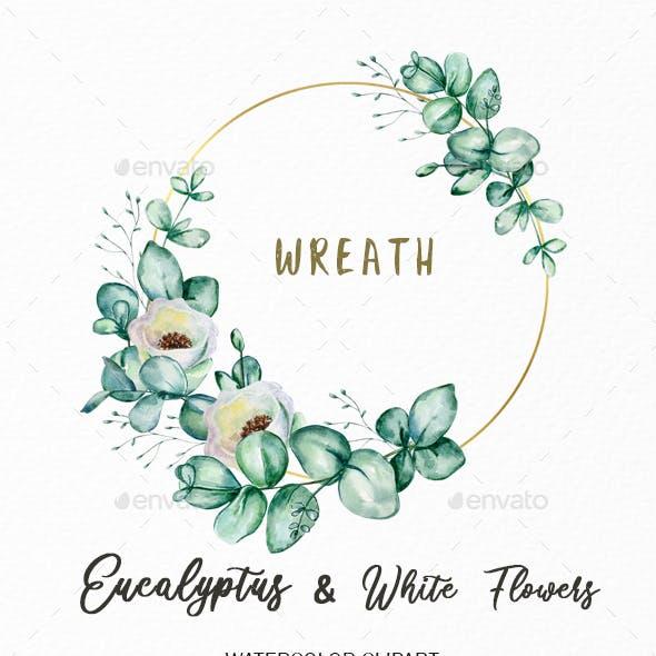 Watercolor Eucalyptus Wreath Clipart