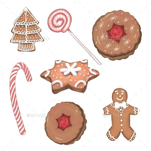 Christmas Gingerbread Cookies Xmas Sweets - Miscellaneous Illustrations