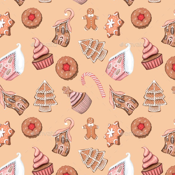 Christmas Sweets Gingerbread House Pattern - Objects Illustrations