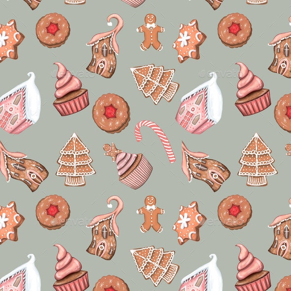Christmas Sweets Seamless Pattern Digital Paper - Miscellaneous Illustrations
