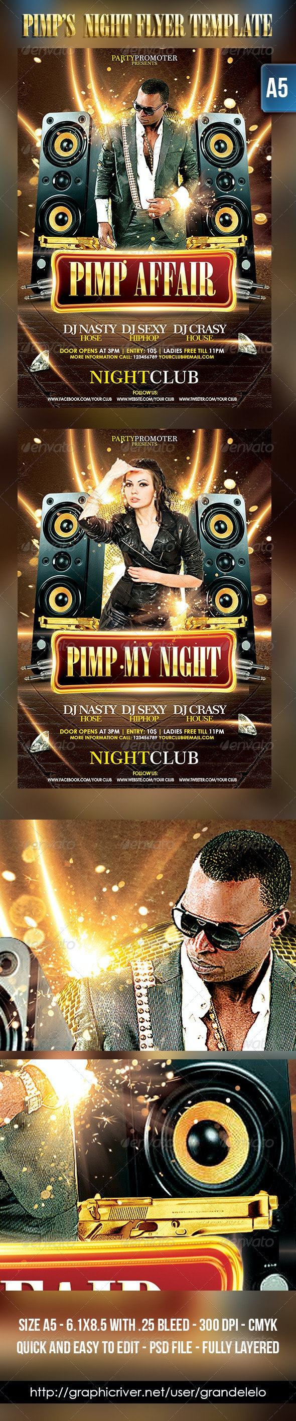 PIMP's Party Flyer Template - Clubs & Parties Events