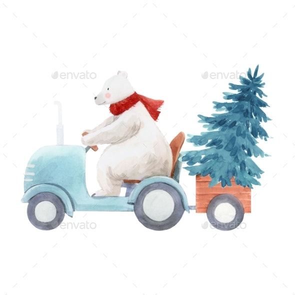 Beautiful Christmas Stock Illustration Hand - Animals Illustrations