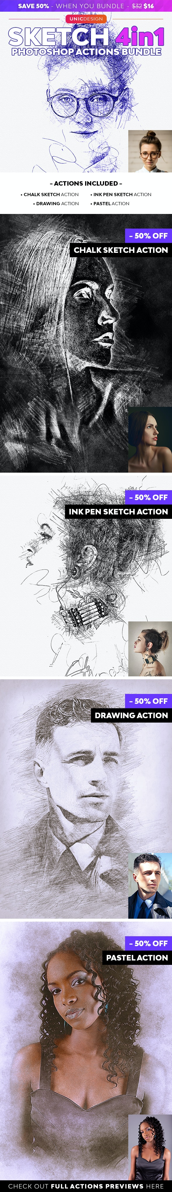 Sketch 4in1 Photoshop Actions Bundle - Photo Effects Actions