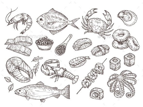 Hand Drawn Seafood - Food Objects