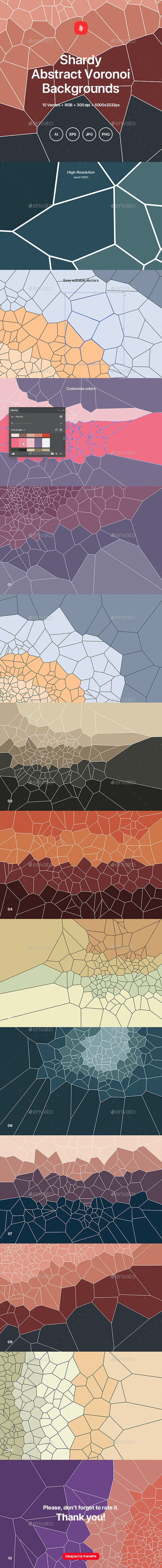 Shardy - Voronoi Background Set - Abstract Backgrounds