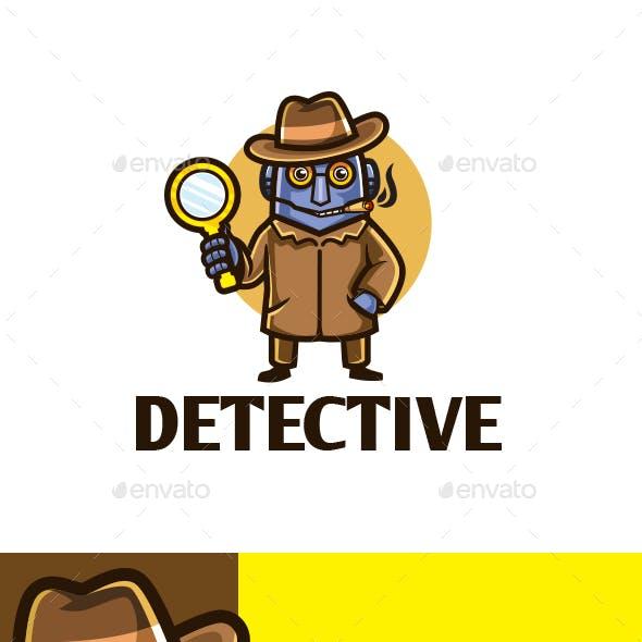 Cartoon Detective Robot Character Mascot Logo