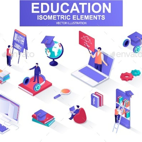 Education Isometric Design Elements