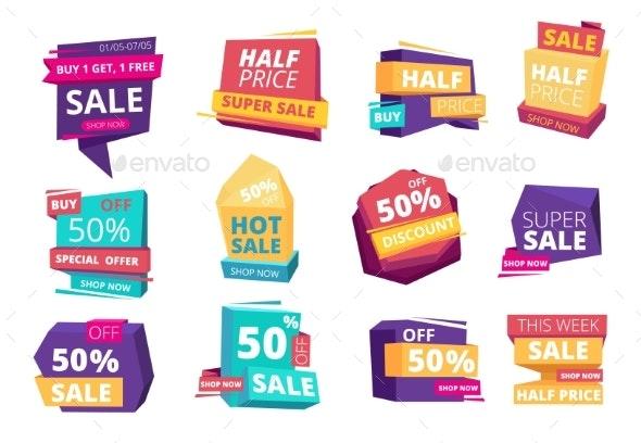 Half Price Emblem - Web Elements Vectors