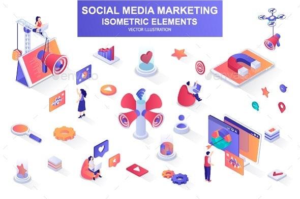 Social Media Marketing Isometric Design Elements - Media Technology