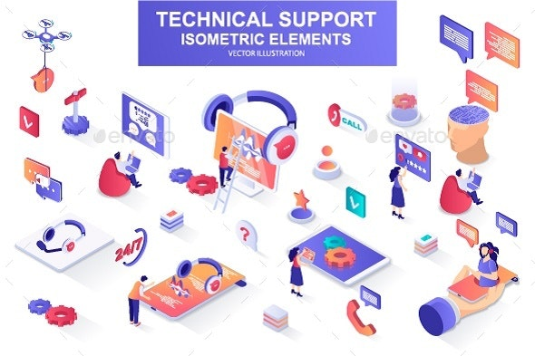 Technical Support Isometric Design Elements - Services Commercial / Shopping