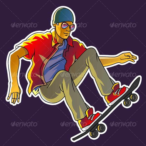 Cool skateboarder - People Characters